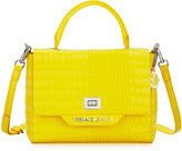Versace Crocodile-Embossed Box Satchel Bag, Yellow