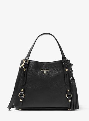 MICHAEL Michael Kors MK Carrie Medium Pebbled Leather Shoulder Bag - Black - Michael Kors