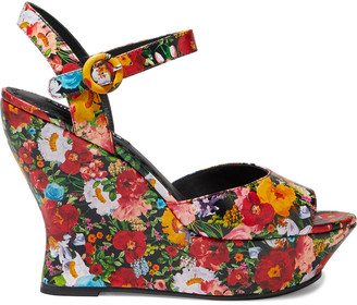 Alice + Olivia Jana Floral-print Leather Wedge Sandals