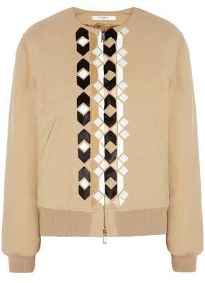 Givenchy Calf Hair And Leather-appliqued Wool-blend Bomber Jacket