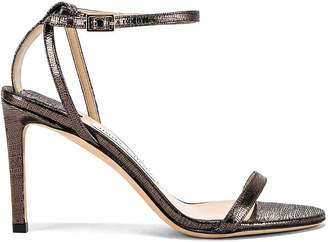 Jimmy Choo Minny 85 Lizard Print Sandal in Anthracite | FWRD