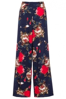 Quiz Navy Floral Print Palazzo Trousers