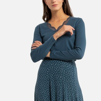 Anne Weyburn Cotton Long-Sleeved T-Shirt with Lace-Trimmed V-Neck