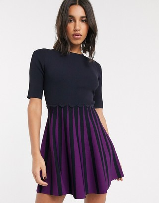 Ted Baker Saylee pleated knitted skater mini dress
