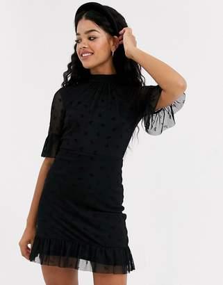 Miss Selfridge bow mesh high neck dress in black