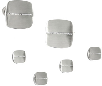 Jan Leslie Men's Soft Square Cufflink & Stud Set w/ Diamonds