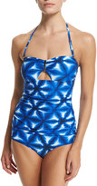 MICHAEL Michael Kors Long Bar Printed Bandeau Tankini Swim Top