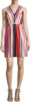 Phoebe Couture Printed Striped V-Neck Satin Dress, Red Multi