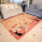 "RuiHome Cat Family Printed Baby Toddler Playmat Soft Rug Children Crawling Carpet for Bedroom Living Room Playroom - 51"" x 73"", Pink"