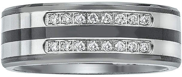 JCPenney FINE JEWELRY Mens 1/5 CT. T.W. Diamond Ceramic, Tungsten and Stainless Steel Band Ring