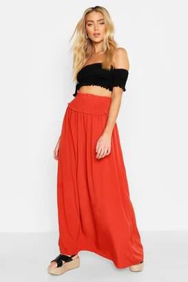 boohoo Shirred Waist Side Split Maxi Skirt