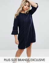 Truly You Fluted Sleeve Shift Dress