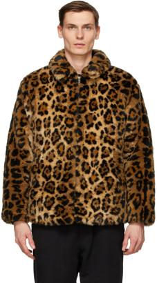 Wacko Maria Brown Faux-Fur Jaguar Coach Jacket