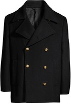 eidos Horn-Button Double-Breasted Wool Peacoat