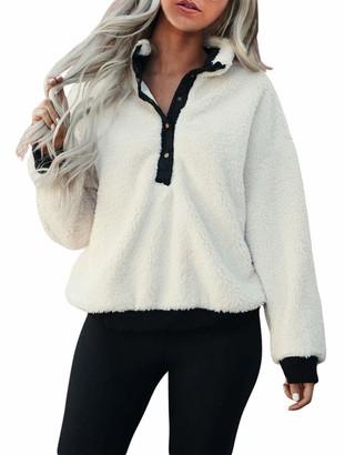 KIRUNDO Winter Womens Mock Neck Pullover Long Sleeves Half Button Closure Sweatshirt Fleeces Ribbed Hem Outwear (Large