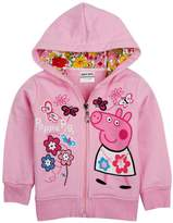 Tiful Peppa Pig Little Girls Spring Fall Winter Long Sleeve O-Neck Cartoon Animal Pure-Color Alphabet Hooded Cotton Jacket