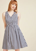 ModCloth Savor Someplace New A-Line Dress in Gingham in M