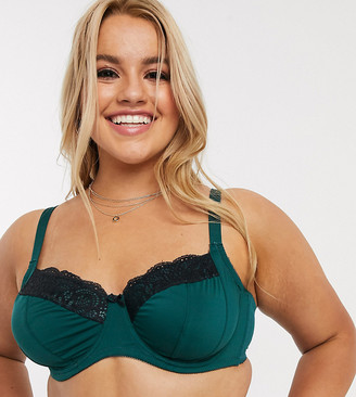 New Look Plus New Look Curve lace trim underwired bra in teal
