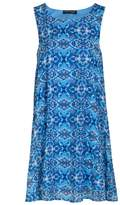 Select Fashion Fashion Womens Blue Tile Chiffon Swing Drs - size 6