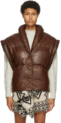 Etoile Isabel Marant Brown Leather Keyson Vest