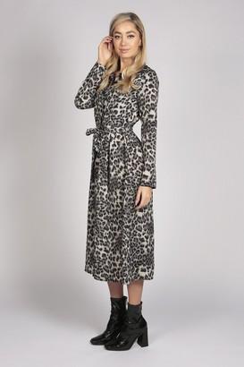 Tenki LONG SLEEVE LEOPARD PRINT SHIRT MAXI DRESS IN GREY BLACK