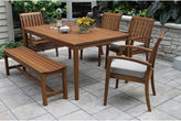 OUTDOOR INTERIORS Outdoor Interiors 6pc Eucalyptus Dining Set with Arm Chair and Bench
