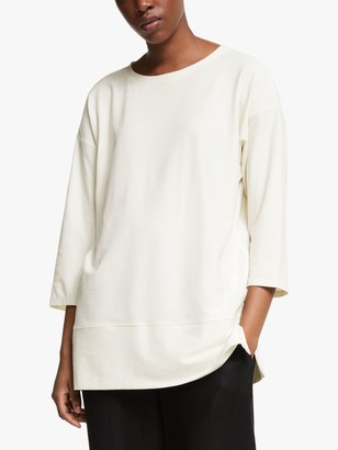 Eileen Fisher Lightweight Crepe Tunic Top, Bone