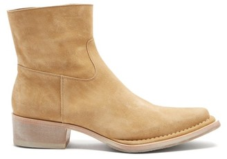 Acne Studios Cuban-heel Suede Ankle Boots - Tan