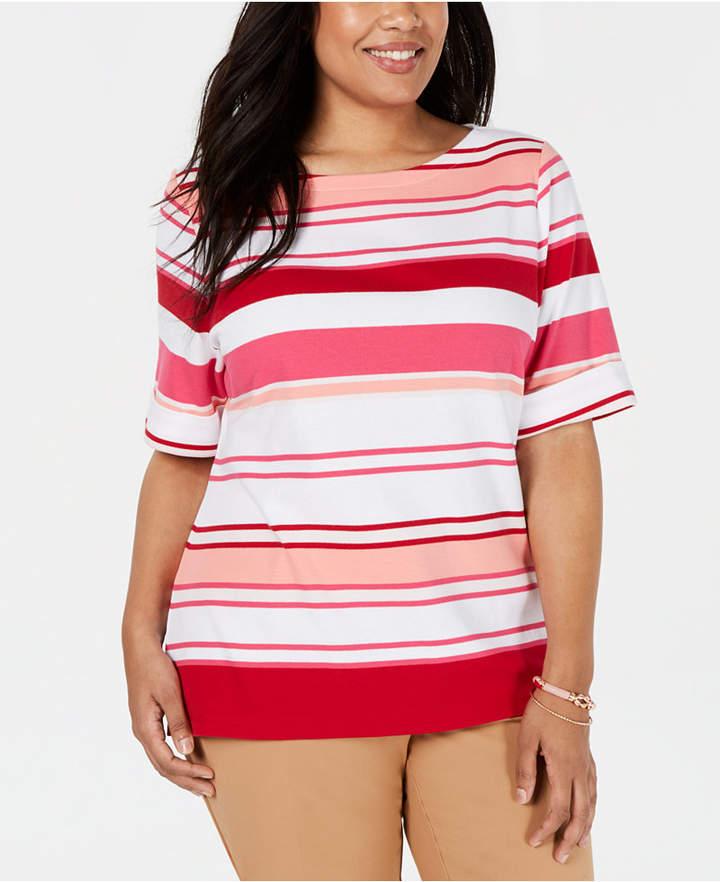 Karen Scott Plus Size Striped T-Shirt