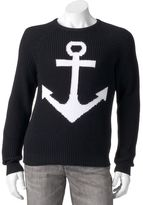 WD.NY Men's Black Slim-Fit Anchor Sweater
