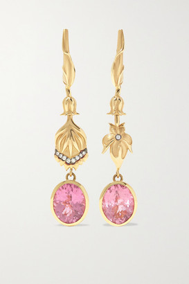 Larkspur & Hawk Emily's Garden 14-karat Gold, Tourmaline And Diamond Earrings - one size