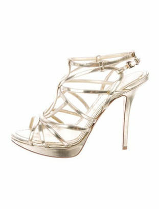 Christian Dior Patent Leather Sandals Gold