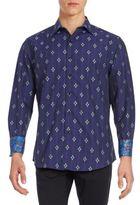 Robert Graham Contrast Cuff Cotton Shirt