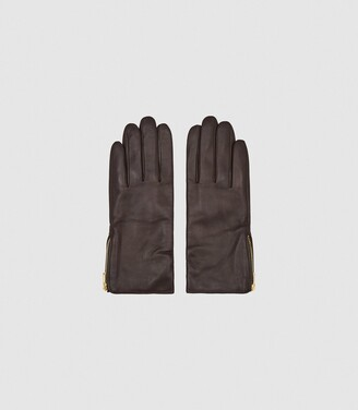 Reiss Emily - Leather Zip Detail Gloves in Chocolate