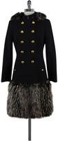 Rachel Zoe Black Wool Coat w/Faux Fur Trims