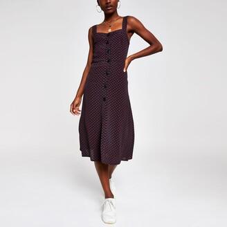 River Island Womens Black print midi dress