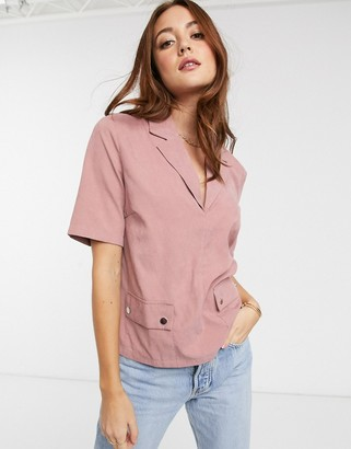 Vila ultilty top with pockets in pink