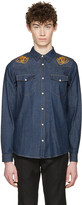Alexander McQueen Indigo Embroidered Skulls Denim Shirt