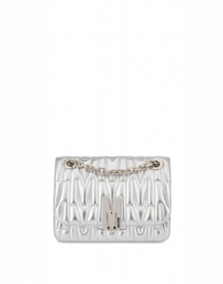 Moschino M Quilted Laminated Shoulder Bag Woman Silver Size U It - (one Size Us)