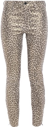 J Brand L8001 Leopard-print Stretch-leather Skinny Pants