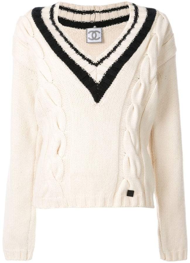1e7c3e98ec2e2b Knit White V-neck Sweater - ShopStyle