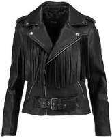 Maje Fringed Leather Biker Jacket
