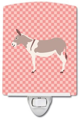 Caroline's Treasures Australian Teamster Donkey Pink Check Ceramic Night Light