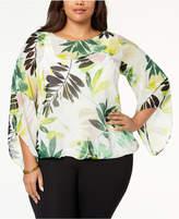Alfani Plus Size Blouson Angel-Sleeve Top, Created for Macy's