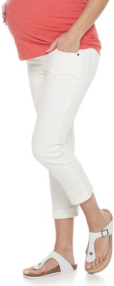 A Glow Maternity a:glow Cuffed Full Belly Panel Crop Jeans