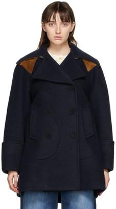 Chloé Navy Mohair Pea Coat