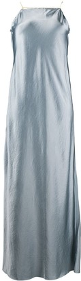 Erika Cavallini Square-Neck Satin Maxi Dress