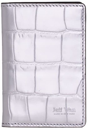 Jeff Wan Silver Embossed Crocodile Leather Bifold Wallet Port Louis
