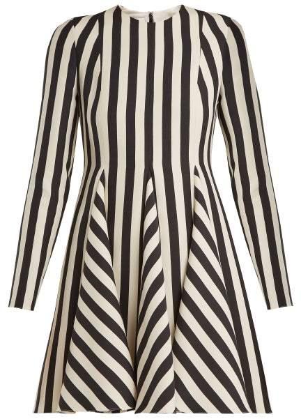 Valentino Striped Wool And Silk-blend Dress - Womens - White Black