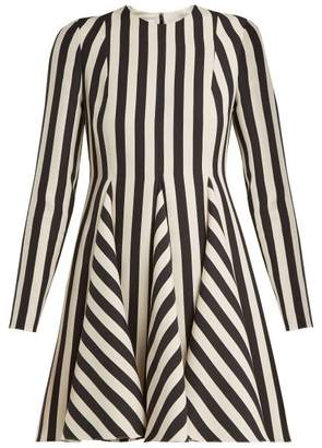 Valentino Striped Wool And Silk-blend Dress - Womens - White Black